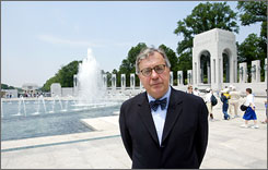 Rhode Island architect Friedrich St. Florian stands in front of his design, the World War II Memorial, in 2004.