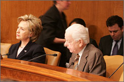 Sen. Hillary Clinton, D-NY, and Sen. Robert Byrd, D-W.V., participate in a Senate Armed Services Committee briefing.