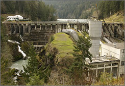 The Elwha Dam, on the Olympic Peninsula in Washington state, is one of two huge dams built in the early 1900s and set to be removed in 2012.