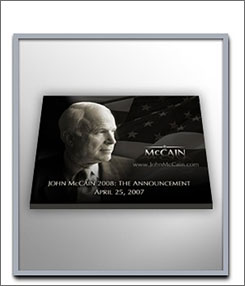 For a donation of $75 to John McCain's campaign, you can receive a John McCain mousepad for your computer.