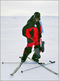Barbara Hillary on her skis during her trip to the North Pole.