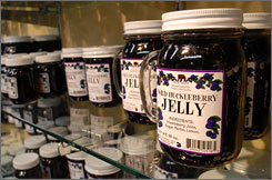 An assortment of huckleberry products are seen on sale at The Huckleberry Patch in Hungry Horse, Mont.