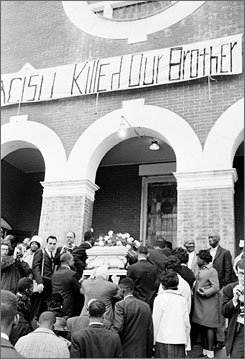 "Jimmie Lee Jackson's casket is carried into a church in Selma, Ala., after he was shot by a state trooper during a demonstration. The incident sparked the historic ""Bloody Sunday"" protest."