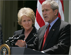 President Bush held a short Rose Garden briefing with Secretary of Transportation Mary Peters to announce that he has ordered federal agencies to find a way to begin regulating vehicle emissions by the time he leaves office in January of 2009.