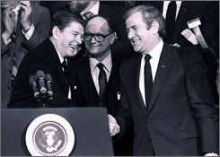 President Reagan shakes hands with The Rev. Jerry Falwell, right, in 1984 in Washington. Falwell used the power of television to found the Moral Majority and turn the Christian right into a mighty force in American politics during the Reagan years.