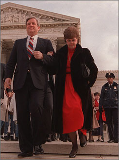 The Rev. Jerry Falwell and his wife Macel leave the Supreme Court in December 1987 after losing the First Amendment case against Hustler publisher Larry Flynt.