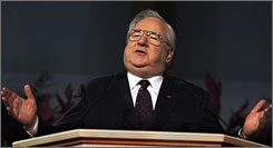 Dr. Jerry Falwell gestures while speaks at the Justice Sunday III rally in 2006 in Philadelphia, Penn. Falwell died May 15, 2007 at the age of 73.