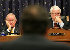 "House Education and Labor Committee Chairman George Miller, D-Calif., right, and Rep. Howard McKeon, R-Calif., left, listen to New York Attorney General Andrew Cuomo testify on student loan practices. Lenders are likely sweetening discounts ""to stave off (subsidy) cuts"" from Congress, says Mark Kantrowitz of FinAid, a financial aid website."