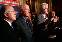 Sen. Edward Kennedy, flanked by Sens. Patrick Leahy, on his left, and Harry Reid, right, attends a news conference on immigration reform on Capitol Hill in Washington, D.C., earlier this month. Today, lawmakers, including Kennedy, struck a deal with the White House on immigration reform.