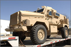 Here is one example of a Mine Resistant Ambush Protected (MRAP) vehicle by Force Protection that was delivered to the U.S. Government.