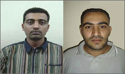 Iraqi journalists Saif Laith Yousuf, left, and Alaa Uldeen Aziz, were forced to get out of their car on their way home from work. They were then killed.