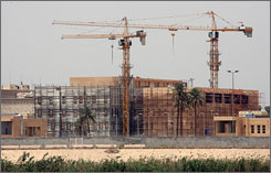 A portion of the $592 million U.S. Embassy under construction is seen from across the Tigris River in Baghdad.