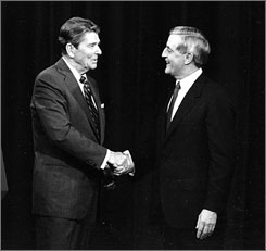 "President Reagan greets his challenger, Walter Mondale, before their Oct. 21, 1984 debate. The day before, Reagan wrote, ""I've been working my tail off to master the 4 min. closing statement I wanto make in the debate tomorrow night."" The moderator had to cut Reagan off when he went long in his closing."