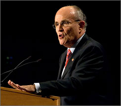 Giuliani in early May. Giuliani has led in national polls of Republican voters. However, a recent poll by the Des Moines Register of likely GOP caucus-goers in Iowa gave former Massachusetts Gov. Mitt Romney a strong lead of 30%, compared to 17% for Giuliani.
