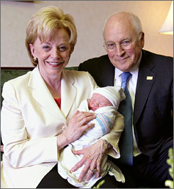 U.S. Vice President Dick Cheney and wife Lynne Cheney hold their sixth grandchild, Samuel David Cheney, born Wednesday in Washington. His parents are the Cheneys' daughter Mary, and her partner, Heather Poe.