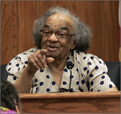 "Fannie Lee Chaney, the mother of James Earl Chaney, one of the three civil-rights workers killed in the ""Mississippi Burning"" case in 1964, testifies in the Edgar Ray Killen civil rights murder trial in Philadelphia, Miss., on June 18, 2005."
