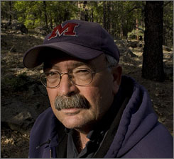 Retired federal firefighter Van Bateman in the Coconino National Forest south of Flagstaff, Ariz.