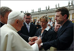 Pope Benedict XVI meets Kate and Gerry McCann, the parents of Madeleine McCann, the four-year-old British girl who disappeared in Portugal nearly a month ago, after his weekly audience in Saint Peter's Square in the Vatican today.