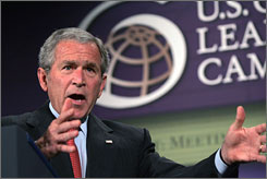 "President Bush called on 15 countries to develop alternative energy sources, including ""clean coal"" and ""clean, safe nuclear power"" to reduce global emissions."