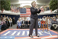Democratic presidential hopeful Sen. Hillary Rodham Clinton (D-N.Y.) speaks during a town hall meeting May 25 in Mason City, Iowa.