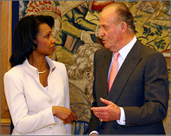 Secretary of State Condoleeza Rice met Spain's King Juan Carlos at the Zarzuela palace in Madrid today. Rice criticized Spanish officials for not helping those who oppose Fidel Castro in Cuba.