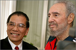 Cuban leader Fidel Castro, right, reportedly spent 2 hours with Vietnamese Communist Party chief Non-g Duc Manh.