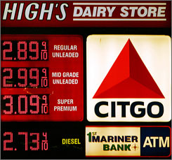 Fuel prices are advertised at High's Dairy Store, May 30 in Trappe, Md. with an electronic LED sign. These displays are expected to become common practice nationwide as stations try to save staff members time and maximize profits in an era of daily price changes.