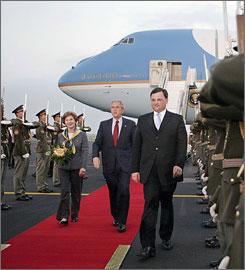 Bush arrives in Prague Ruzyne Airport in Prague, Czech Republic on Monday evening.