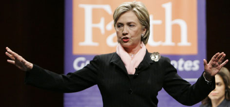 Democratic presidential hopeful Sen. Hillary Clinton speaks during a forum on faith, values, and poverty hosted by Sojourners/Call to Renewal at George Washington University, Monday, in Washington, D.C.