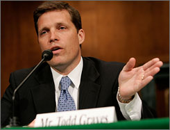 Former U.S. attorney Todd Graves testifies during a hearing on Capitol Hill in Washington, D.C., Tuesday. The hearing focused on prosecutorial independence of the Justice Department and the firing of the eight U.S. attorneys.