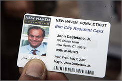 This is an example of the ID card that New Haven, Conn.,  Mayor John DeStefano, pictured above, proposed, and then city officials approved on Monday. The cards, which should be available in July for up to $10, would be issued to help safeguard the city's illegal immigrants.