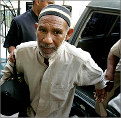 Trinidadian Kareem Ibrahim, 56, arrives to the Magistrate Court for an extradition hearing Monday in downtown Port-of-Spain, Trinidad.