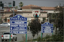 New home signs line the roads in Fontana, Calif., in San Bernardino County where the population has swelled to two million.