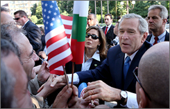 President Bush greets people in the crowd during an arrival ceremony in Nevsky Square in Sofia, Bulgaria Monday.