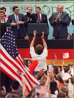 "A spectator jumped up as President Reagan concluded his speech at the Berlin Wall. The speech ""was a clarion kind of statement that President Reagan thought that change was coming,"" George Shultz, Reagan's secretary of state from 1982 to 1989, said last week."
