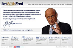 "A screen grab from Fred Thompson's Web page. ""He's getting such a late start. He really needs to use the Internet"" to catch up, says Robert Bluey, an online politics specialist at the conservative Heritage Foundation, on Thompson's campaign."