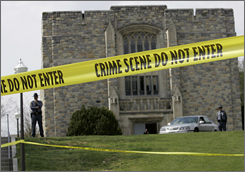 Tape surrounds Virginia Tech's Norris Hall in April after a gunman killed 30 people.