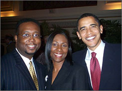 Orlan and Zina Johnson pose with Barack Obama during an April 2007 event at the Columbus Club that raised more than $400,000. Obama has received nearly double the number of contributions from zipcodes with high concentrations of wealthy African Americans than his closest Democratic rival Hillary Clinton, USA TODAY analysis shows.