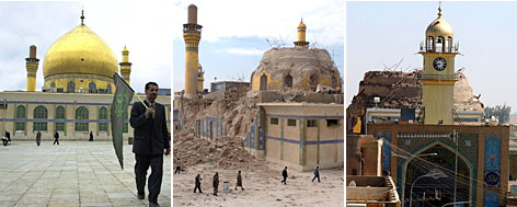 The Askariya shrine in Samarra, Iraq, is seen (from left) intact in February 2004, with the dome destroyed Feb. 22, 2006 and without the minarets on June 13, 2007. Only the mosque's watch tower is left standing.