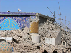 The destroyed golden minarets are seen at the Shiite Askariya mosque today. Sectarian violence increased after the 2006 attack.
