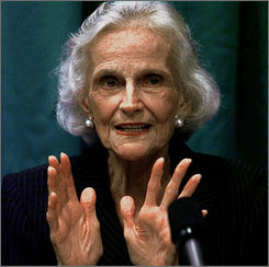  Ruth Bell Graham, wife of evangelist Bill Graham, gestures during a news conference in a Thursday, Oct. 22, 1998 file photo in Tampa Evangelist Billy Graham said Wednesday, that he and his wife will be buried at the recently dedicated Billy Graham Library in Charlotte 
