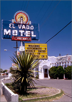 "Affectionately called ""The Mother Road,"" Route 66 is known for quirky roadside attractions and unique mom-and-pop motels, like the El Vado Motel, shown here on Route 66 in Albequerque, N.M."