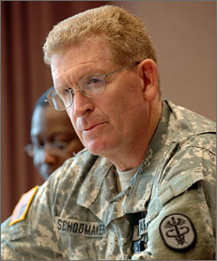 "Major Gen. Eric Schoomaker, commander of Walter Reed Army Medical Center, looks on at the Florida Veterans of Foreign Wars Convention on Friday. According to a news release, Schoomaker, ordered ""immediate counting, sorting and delivery of the mail, and relieved the contract employee mail clerk of duties."""
