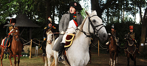 VIVE L'EMPEREUR: The man on the white horse portrayed  Napoleon Bonaparte during the latest re-enactment of the French emperor's last battle. Napoleon, reportedly feeling ill on that day in 1815, actually let his subordinate, Marshal Michel Ney, command portions of  the battle.