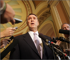 Then Senate Majority Leader Bill Frist  of Tenn., speaks to the media on Capitol Hill in Washington in this Sept. 19, 2006 file photo. Frist is returning to his alma mater, Princeton University, to teach courses on government health policy, the university said Tuesday.