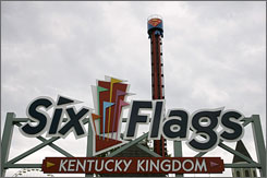 The Superman Tower of Power ride rises above the entrance to Six Flags Kentucky Kingdom in Louisville A 13-year-old girl's feet were severed just above the ankles Thursday as she rode the ride, which lifts passengers 177 feet straight up, then drops them nearly the same distance at speeds reaching 54 mph.