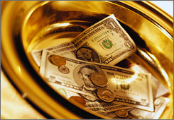 Church collection plates must've been full this year as Americans donated $96.82 billion to religious organizations.