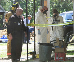 Amateur meth labs, such as this one busted in Marshville, N.C., produce toxic waste, which is costly to clean up.