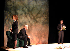 Mormon characters in Facing East Ruth, played by Jayne Luke, and Alex, played by Charles Lynn Frost, confront the suicide of their gay son. Their son's partner, Marcus, played by Jay Perry, also joins the scene.