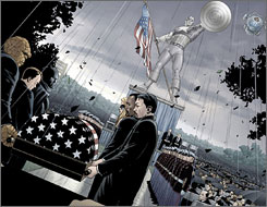 Six of his fellow Superheroes carry the casket bearing the remains of Marvel comic book character Captain America. After 66 years of battling villains from Adolf Hitler to the Red Skull, Captain America will be laid to rest in the in the latest issue of Marvel Comics, which will hit the newsstands Thursday.